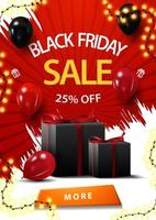 Black Friday sale, up to 25 off, red vertical discount banner with balloons and gifts.