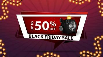 Black Friday sale, up to 50 off, discount web banner with piggy Bank