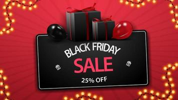 Black Friday sale, up to 25 off, discount black coupon with gifts and balloons