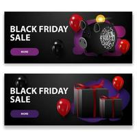 Black Friday sale, two black horizontal discounts banners with piggy bank, balloons and gifts isolated on white background