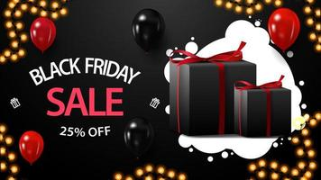 Black Friday sale, up to 25 off, black horizontal discount coupon with gifts, balloons and garland