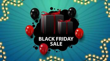 Black Friday sale, blue horizontal discount coupon with gifts and balloons