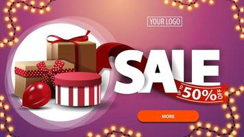 Sale, up to 50 off, pink discount banner for website with gift boxes
