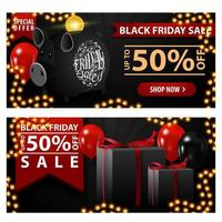 Black Friday sale, up to 50 off, two black horizontal discount banners with piggy bank, balloons and gifts.