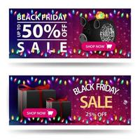 Black Friday sale, two horizontal discounts banners with piggy bank and gifts. Discount templates with polygonal texture