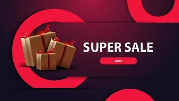 Modern purple discount banner for website with gift boxes