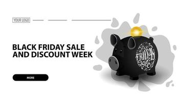 Black Friday sale and discount week, white horizontal discount web banner with black piggy bank vector