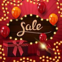 Square festive red discount banner with balloons and gifts