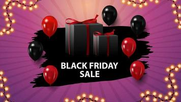 Black Friday sale, pink horizontal discount coupon with gifts and balloons