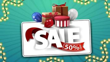 Sale, up to 50 off, horizontal coupon with large letters, gift boxes and balloons