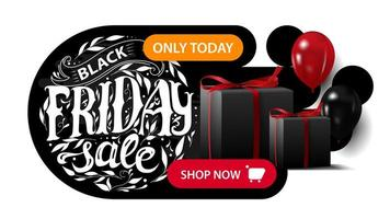 Black Friday sale, horizontal black discount banner with beautiful round lettering, gifts and balloons.