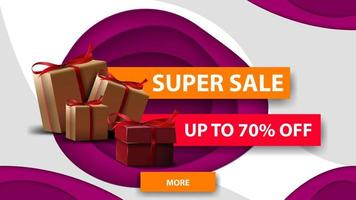 Super sale, up to 70 off, horizontal white and purple discount banner in paper cut style with gift boxes
