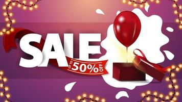 Sale, up to 50 off, pink discount banner with garland and gift box with balloon
