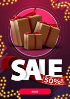 Sale, up to 50 off, vertical pink discunt banner with large letters and gift boxes