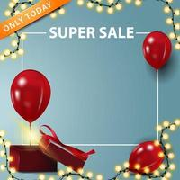 Only today, super sale, square banner with copy space
