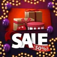Sale, up to 50 off, square purple discount banner with large letters and gift boxes