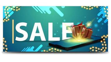 Modern green discount banner for website with smartphone and gift boxes