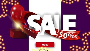 Sale, up to 50 off, horizontal purple and white discount banner with large letters, red ribbon, gift box and balloon.