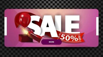 Sale, up to 50 off, horizontal pink banner with large letters, red ribbon and gift with balloon