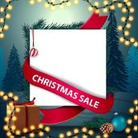 Christmas sale, discount template in paper sheet form with red ribbon around