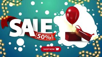 Sale, up to 50 off, horizontal green discount banner with large letters and gift box with balloon