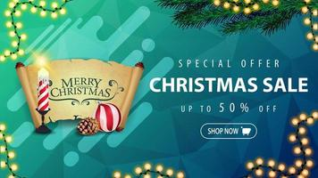Special offer, Christmas sale, up to 50 off, horizontal blue discount banner with garland, Christmas tree branch, Christmas candle, old parchment, Christmas ball and cone