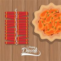 happy diwali celebration with dish and fireworks in wooden background vector