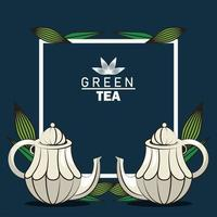 green tea lettering poster with teapots in square frame vector