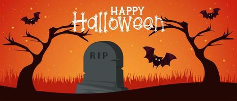 happy halloween celebration card with bats flying in cemetery