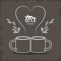 tea time lettering poster with mugs and leaves