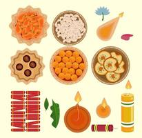happy diwali celebration icon set vector