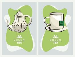 green tea lettering poster with teapot and mug vector