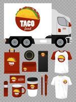 paquete de marca de elementos de maqueta de comida mexicana vector