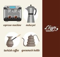 four coffee brewing methods bundle vector