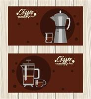 moka pot and french press coffee brewing methods vector
