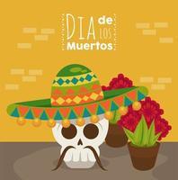 cartel del dia de los muertos con calavera de mariachi y flores vector