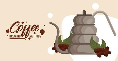gooseneck kettle coffee brewing method vector