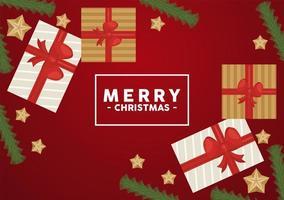 Feliz navidad letras en marco cuadrado con regalos y estrellas doradas vector