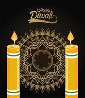 happy diwali celebration with two candles and golden mandala vector