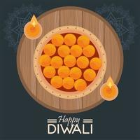 happy diwali celebration with two candles in wooden circular frame vector
