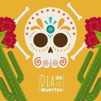 cartel de dia de los muertos con calavera de mariachi y cactus vector