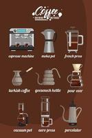 nine coffee brewing methods bundle set icons vector