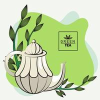 green tea lettering poster with teapot and leaf vector