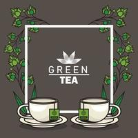 green tea lettering poster with teacups and leaves in square frame vector