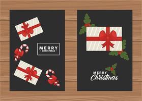 Feliz Navidad leyendas con regalos y bastones en fondo de madera vector