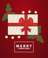feliz navidad letras en marco cuadrado con regalo y hojas vector