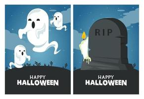 happy halloween celebration card with ghosts and tomb stone