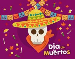 cartel del dia de los muertos con calavera de mariachi y guirnaldas vector