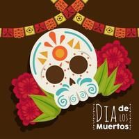 dia de los muertos poster with skull head and flowers