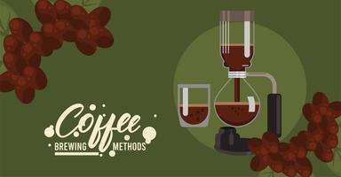vacuum pot coffee brewing method vector